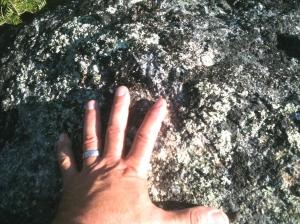 On The North Kinsman Summit Boulder