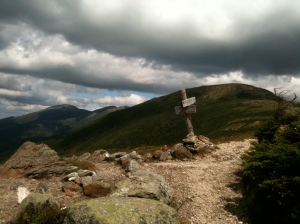 The Edmands Path junction on Mt. Eisenhower