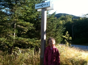 Riley at the Crawford Path Trailhead
