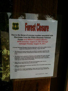Hurricane Irene closes the White Mountain National Forest