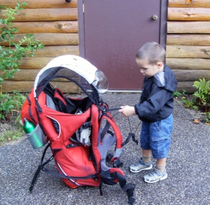 Connor inspects the Kelty FC3 Child Carrier