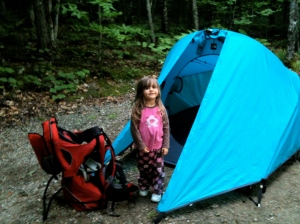 Riley with The North Face Lunarfire tent