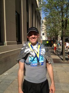 Tom Bishop after running the 2012 Boston Marathon
