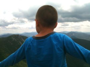 Connor looks toward Mt. Flume