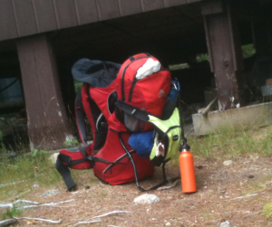 Heavy backpack in Baxter State Park