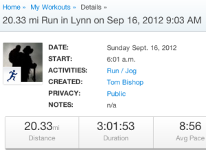 20.33 mi Run on Sep 16, 2012 9:03 AM