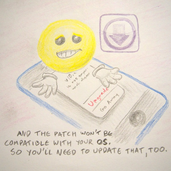 And the patch won't be compatible with your OS, so you'll need to update that, too